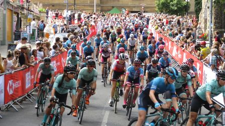 The women's field set off down Guildhall Hill, Norwich, in the National Road Race Championship. Pict