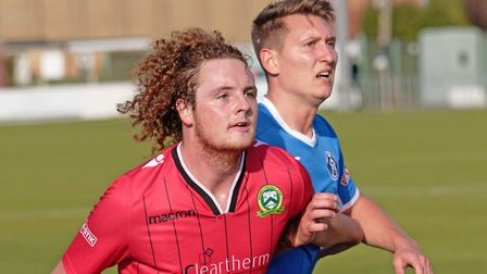 New Stowmarket signing, Christy Finch, right, waiting for a throw in Photo: PAUL VOLLER