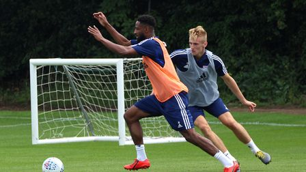 Janoi Donacien and Flynn Downes pictured in pre-season training. Photo: Ross Halls