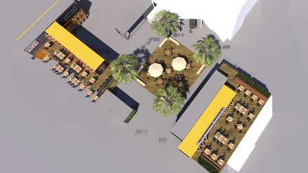Beach Street, Felixstowe - how the proposed food and retail development, incorporating shipping cont