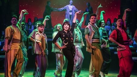 Trina Hill (Narrator) with the cast of Joseph & The Amazing Technicolor Dreamcoat which is being sta