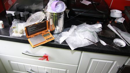 The kitchen of one raided property appeared to contain bags of a Class A drug Picture: ESSEX POLICE