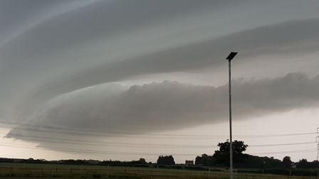 Clare Middleditch snapped the image of the stormy sky in east Suffolk from outside her Leiston home