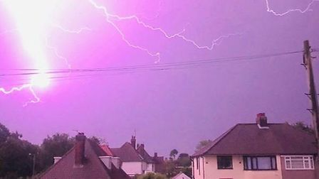 A photo of the lightning strikes at 2am in Ipswich. Picture: JONO WHITE