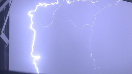 A photo of the lightning in East Anglia. Picture: DAN HOLLEY