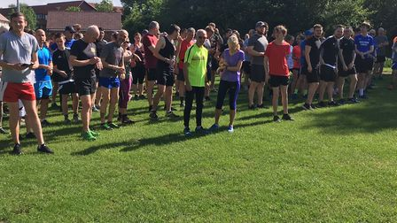 The sun is out as runners congregate for the start of last Saturday's Basildon parkrun, Picture: CAR