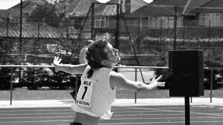 Number 7 was victorious as she threw herself across the line in Ipswich 1986 Picture: ARCHANT