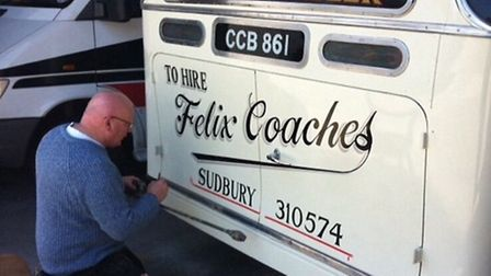 Sudbury-based signwriter Wayne Tanswell at work Picture: SUPPLIED BY WAYNE TANSWELL