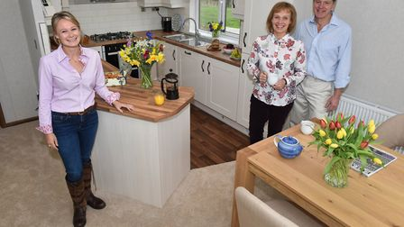 Georgina, Maggie and Chris Knock, whose home sits on a site once used as the Suffolk headquarters fo