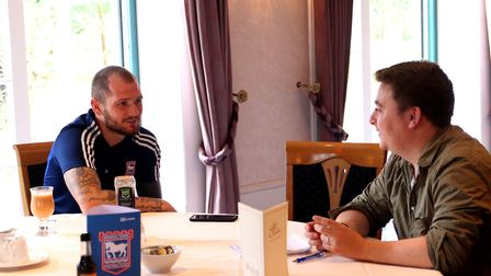 James Norwood spoke to Andy Warren at Ipswich Town's training base in Germany Picture: ROSS HALLS