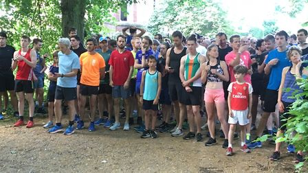 A field of 467 assembles for the start of last Saturday's Hampstead Heath parkrun, on Lime Avenue. P