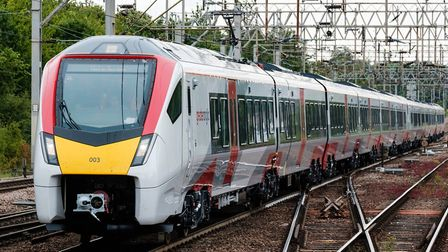 Greater Anglia's new Intercity train testing on the main line at Colchester, Picture: NICK STRUGNELL