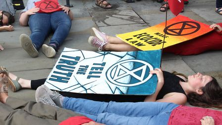 A peaceful 'die-in' was staged by Extinction Rebellion outside the town hall in support of the counc