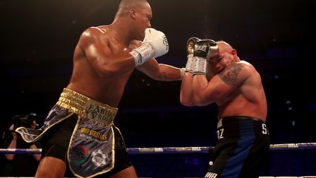 Fabio Wardley lands a jab on Mariano Ruben Diaz Strunz at the O2 Arena. Picture: PA SPORT