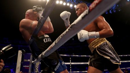 Fabio Wardley pushes Mariano Ruben Diaz Strunz onto the ropes in their fight at the O2 Arena. Pictur