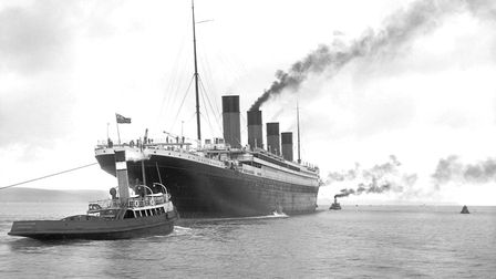 Titanic leaves Belfast, with guiding tugs Picture: Robert Welch