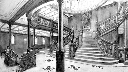 The Grand Staircase of Titanic Picture: From White Line Triple Screw Steamers booklet