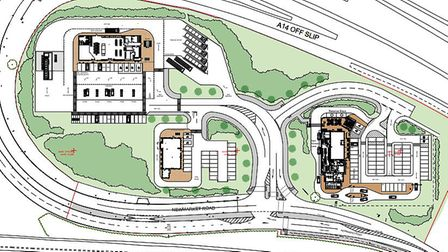 The site layout for the proposed scheme Picture: EURO GARAGES/CAMPBELL DRIVER PARTNERSHIP ARCHITECTS