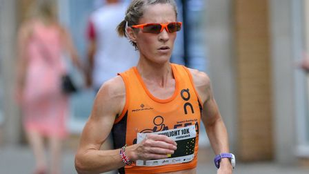 Helen Davies, in action at the 2018 Ipswich Twilight 10K, where she was first female and sixth overa