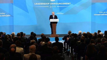 Boris Johnson speaks at the Queen Elizabeth II Centre in London after being announced as the new Co