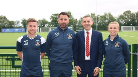 James Mant, Kevin Horlock, Robert Peace and Freya Louis, coaches at Needham Market FC Picture: CHARL