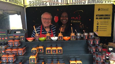 Les and Joyce Gannon with their oil and sauce stall Picture: MARIAM GHAEMI