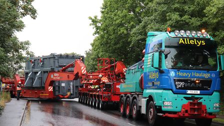 The abnormal load makes it's way from Ipswich Quay, as it heads to the National Grid substation in B