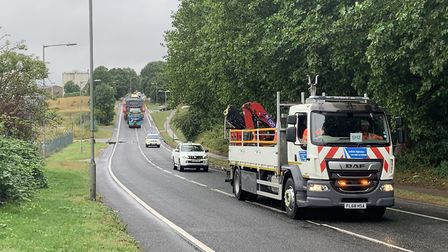 This shows the abnormal load making its way along Landseer Road, Ipswich Picture: SUFFOLK HIGHWAYS
