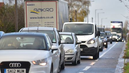Traffic chaos on the A14 after a lane has eben closed following a lorry crash. Picture: ARCHANT