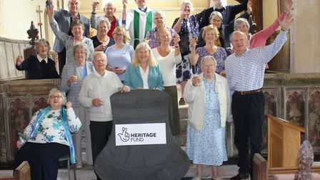 Hitcham parishoners celebrate the £100,000 grant award from the National Lottery Heritage Fund Pictu