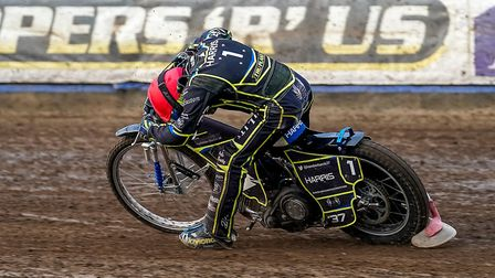 Chris Harris suffers an engine failure in heat one of the Wolves meeting. Picture: Steve Waller