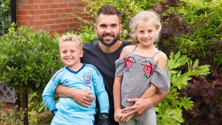Bartosz Bialkowski with his kids Nadia and Oskar. The Pole has often spoke about how settled his yo