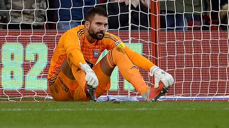Ipswich Town keeper Bartosz Bialkowski after conceding at Nottingham Forest. Picture: Pagepix