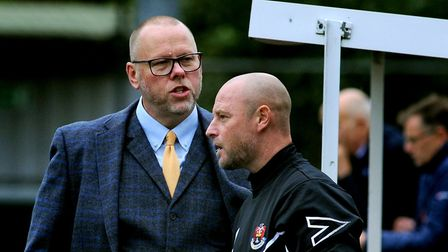 AFC manager Mark Morsley and Lee Norfolk. Picture: ANDY ABBOTT