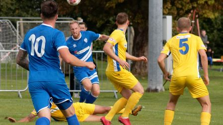 Brantham player/manager Michael Brothers delivers a cross. Picture: PAUL VOLLER