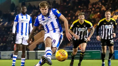 Harry Pell, firing home a penalty against Notts County, is fighting fit. Picture: STEVE WALLER