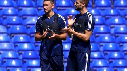Jon Guthrie and James Wilson during the Ipswich Town open day at Portman Road Picture: ROSS HALLS
