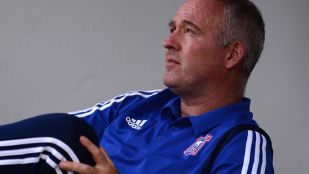 Paul Lambert in the dug-out before kick-off at Notts County. Photo: Pagepix