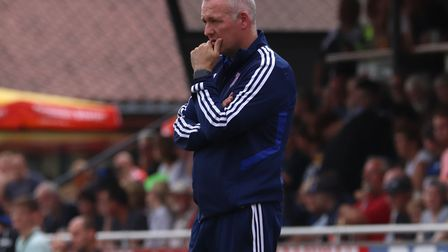 Paul Lambert watches on during the pre-season friendly against Paderborn. Photo: Ross Halls