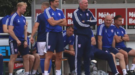 Stuart Taylor and Paul Lambert watches on during the pre-season game against Paderborn. Photo: Ross