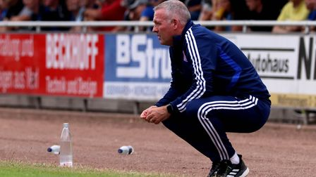 Paul Lambert watches on during the Paderborn friendly. Photo: Ross Halls