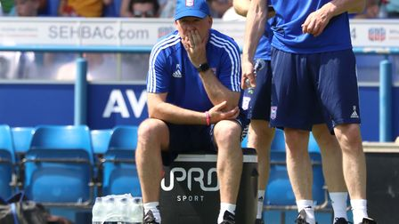 Paul Lambert watches on during the Ipswich Town open day training session. Photo: Ross Halls