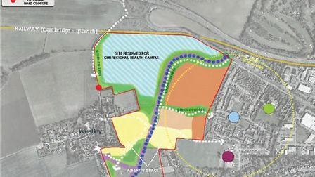 This map shows the land allocated for development west of Bury St Edmunds and where the relief road