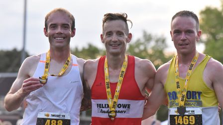 The top three: winner Danny Rock, middle, runner-up Ryan Prout, left, and Ben Toye, right. Picture: