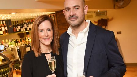 Owners of The One Bull in Bury St Edmunds celebrate the pubs reopening. Pictured is Roxane and David