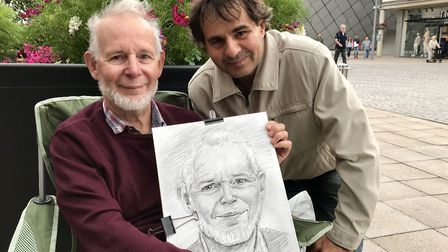 Jurek Oleszko (right) with Michael Ryall and his sketch Picture: ARCHANT