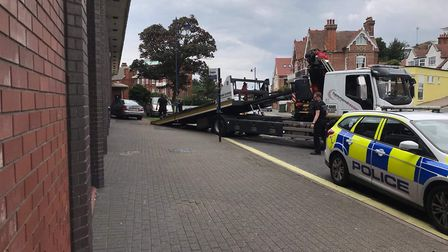 The crash at Felixstowe Leisure Centre left one car off the road Picture: ALAN BOYLE EVERYTHING FELI