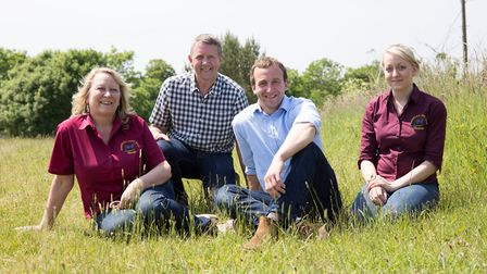 The Thickitt family on the home farm: from left, Wendy, husband, Jeremy, and their children Richard