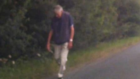 Mr Nunn, 82, was spotted on dash cam footage just outside the town Picture: SUFFOLK CONSTABULARY
