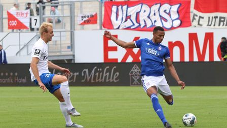 Corrie Ndaba prepares to cross the ball against Meppen. Picture: ROSS HALLS